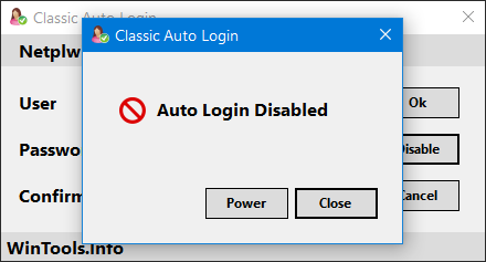 auto login disabled