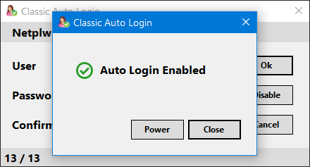 auto login enabled