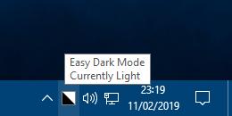 easy dark mode system tray