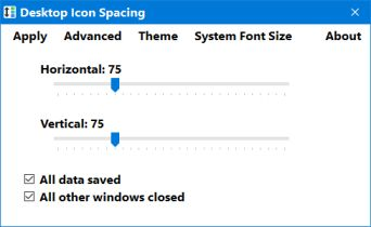 desktop icon spacing