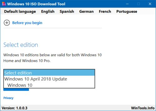 Windows 10 ISO Download Tool Select1