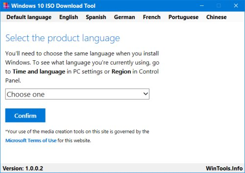Windows 10 ISO Download Tool Select2