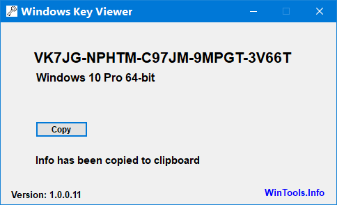 Windows Key Viewer Win10